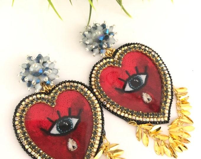 Handmade heart evil eye earring