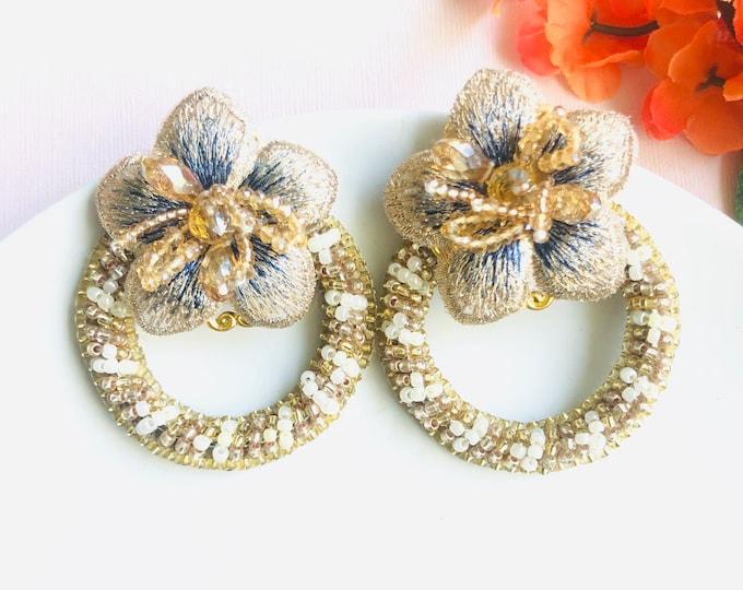 Beaded Flower Earrings, Flower loop earrings, statement earrings, dainty flower gold earrings, edgy earrings, wanderlust jewelry