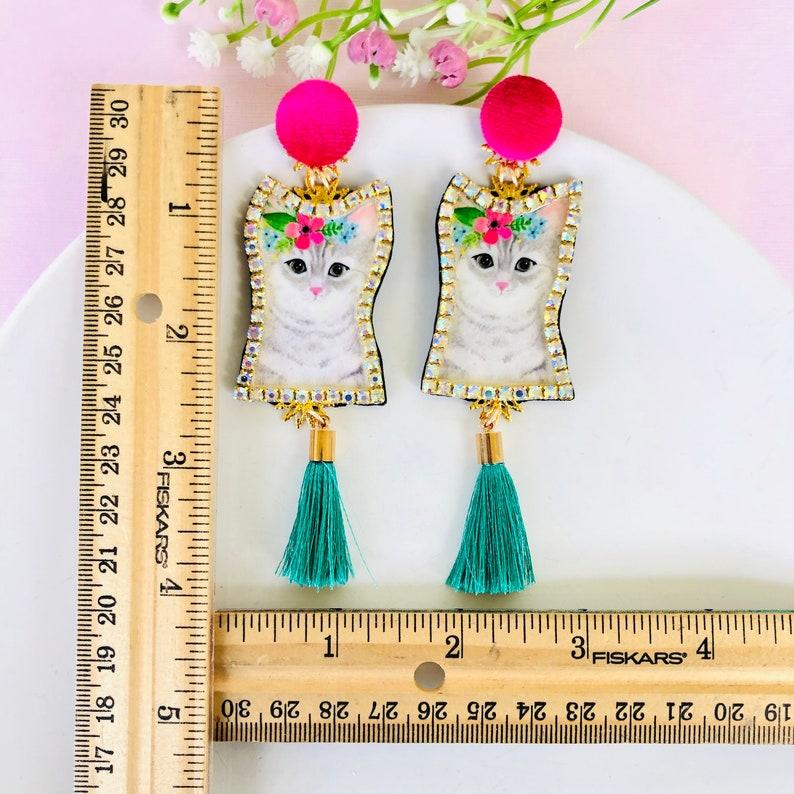 wanderlust jewelry green tassel earrings handmade earrings statement earrings edgy earrings Kitty cat Earrings funny earrings