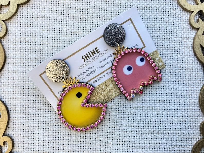 Handmade pacman/ghost earrings image 0
