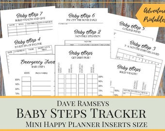 baby steps tracker printable planner pages for the mini happy planner dave ramsey financial peace program planner debt snowball planner
