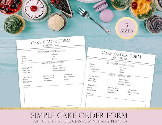 Custom Cake Order Form Printable Baking Business Planner Etsy