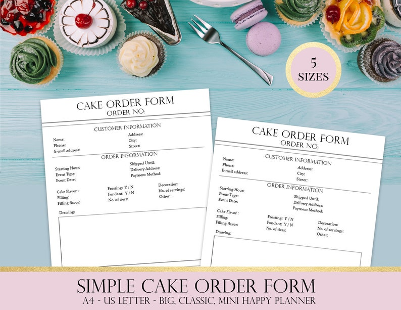 image about Cake Order Forms Printable identify Customized Cake Purchase Kind, Printable Baking Enterprise Planner, Cake Business office Planner