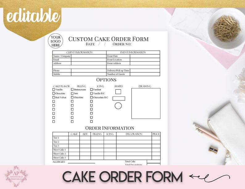 custom cake order form bakery forms cake order form baking