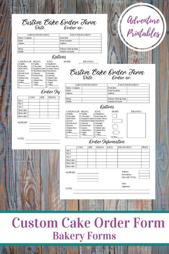 Custom Cake Order Form Bakery Forms Cake Order Form Baking Etsy