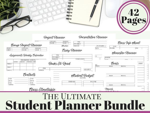college student printable planner 2018 2019 back to school etsy