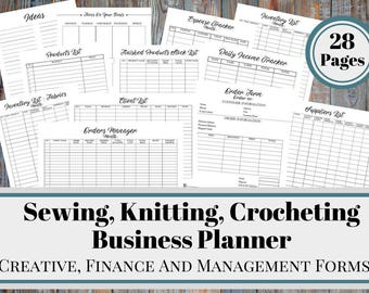 Sewing, Knitting, Crocheting  Business Planner and Manager, Business Finance and Business Management Printable Forms, Product Inventory