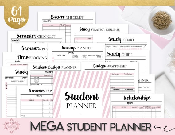 College Student Printable Planner 2019-2020, Back To School Planner, College Planner, Student Survival Kit, Academic Planner