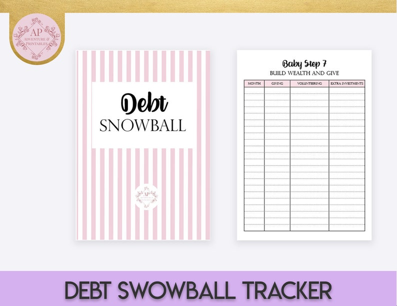 Baby Steps Progress Tracker Printable Planner Pages in A4 ans US Letter,  Dave Ramsey Financial Peace Program Planner, Debt Snowball Planner