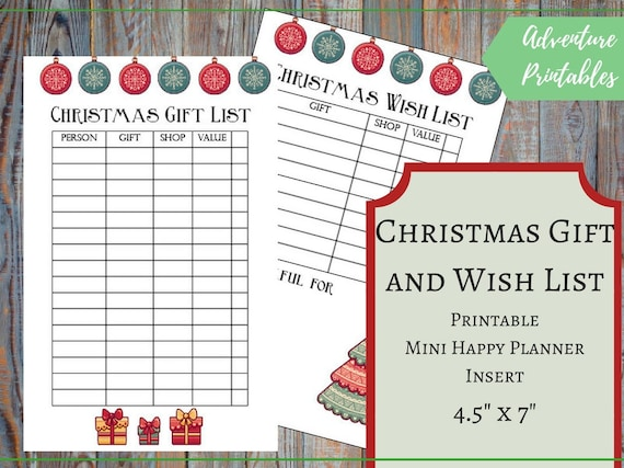Christmas Gift List And Christmas Wish List For The Mini Happy | Etsy