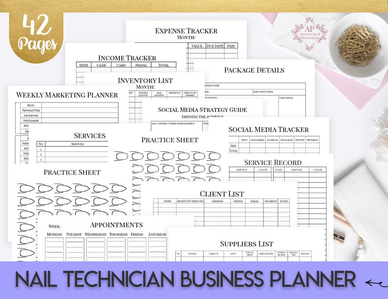 Nail Technician Business Planner Printable Nail Artist image 0