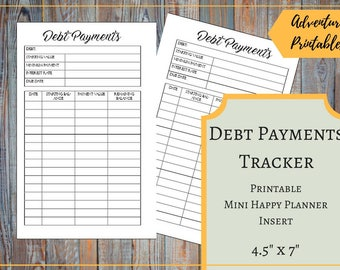 Debt Payments Tracker for the Mini Happy Planner, Dave Ramsey, Monthly Debt Payments, Credit Card Payments, Financial Peace, Mambi,