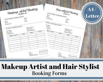 Makeup Artist And Hair Stylist Booking Forms, Wedding Makeup and Hair, Bridal Makeup and Hair