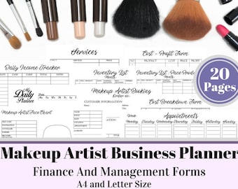 Makeup Artist Business Planner and Manager, Business Finance and Management Printable Planner, Makeup Services, Small Business, Freelance