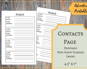 Contacts Page Printable Insert for the Mini Happy Planner, Contacts List, Pocket Size Planner, Mambi, Create 365