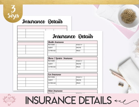 Insurance Information Tracker Household Insurance Details Etsy