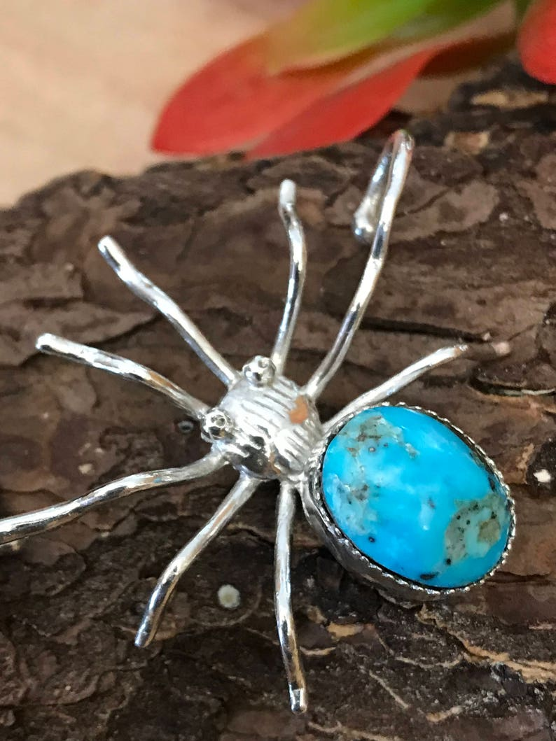 Turquoise Spider Ear Cuff Sterling Silver Arachnid Lover Boho Goth Handmade Jewelry Good Luck Omen PiecesByHartShop