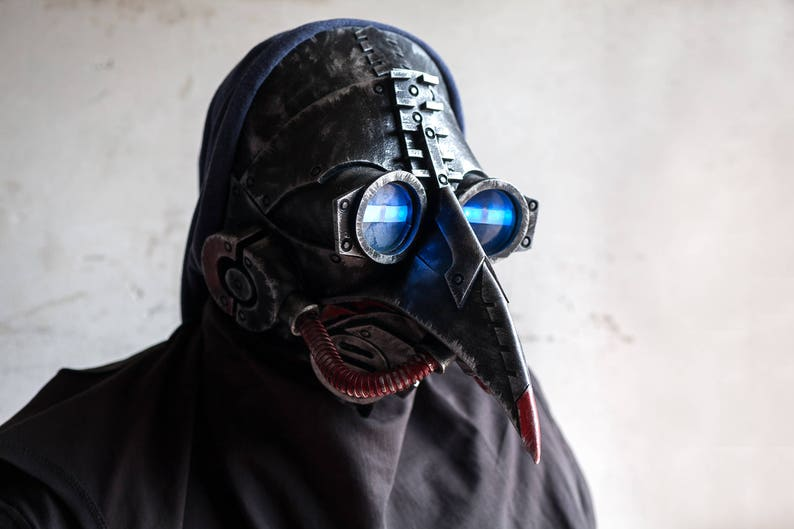 Plague Doctor Mask Halloween Costume Cosplay LED Steam Punk Cyberpunk Light  Up Face Masks Bird Prop Dr. Dr Scary