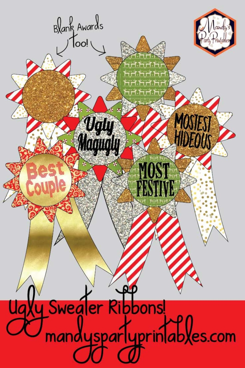 Ugly Sweater Christmas Party Printables with Personalized Party Invitation