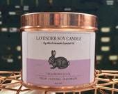 Lavender Soy Candle with essential oil - Natural Cruelty Free Soy Candle - Essential Oil Candle - Plastic Free P&P - bridesmaid gift