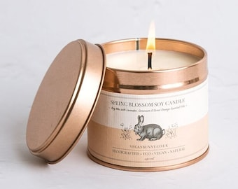 Spring decor candle scented with uplifting oils - eco friendly