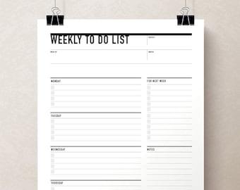 Printable Weekly To Do List, Week Agenda Planner, Printable To Do list, Student Planner, Weekly Action Plan, Student Agenda, Weekly Planner