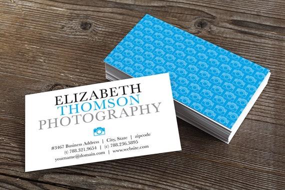 Visitenkarte Druckbare Visitenkarten Design Editierbare Vorlage Blau Kamera Logo Muster Sofortiger Download Ms Word Dokument Fotograf Karte