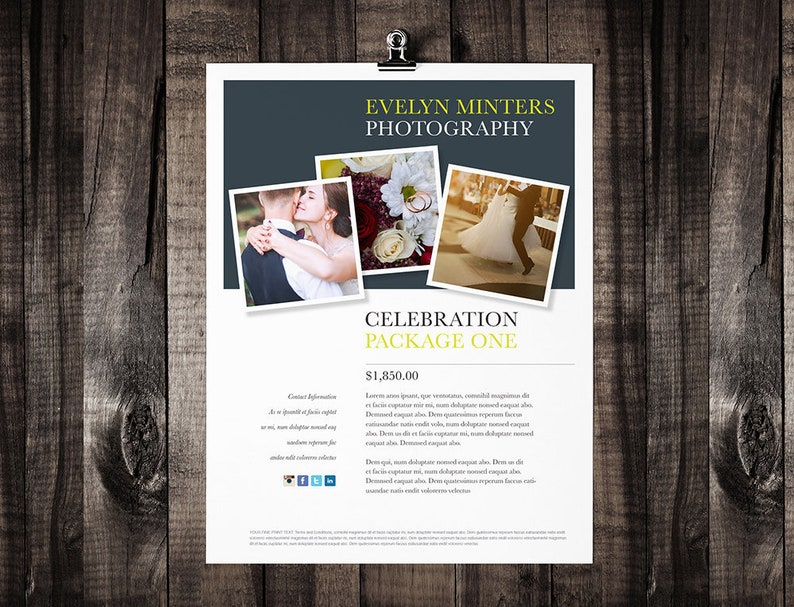 Printable Brochure Template Design, Flyer Template, Editable, MS Word,  Print at Home, Photographer Marketing Kit, Showcase Package