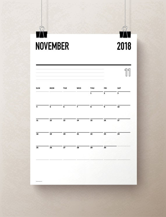 2018 2019 simple monthly calendar college planner monthly etsy