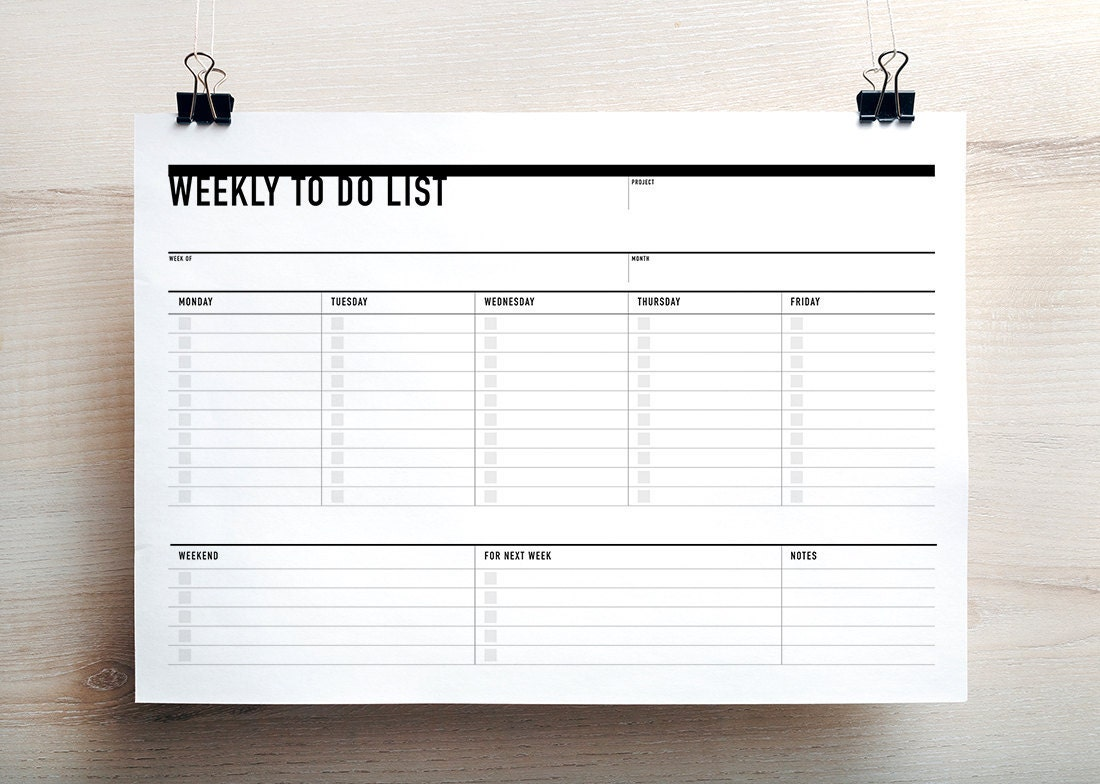 printable weekly to do list week agenda planner printable to   etsy