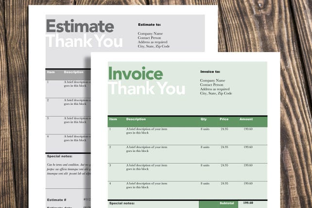 Rechnung Schätzung Druckvorlage editierbare Vorlage | Etsy