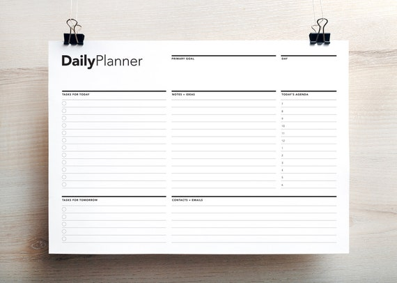 daily work planner life planner daily agenda printable to etsy
