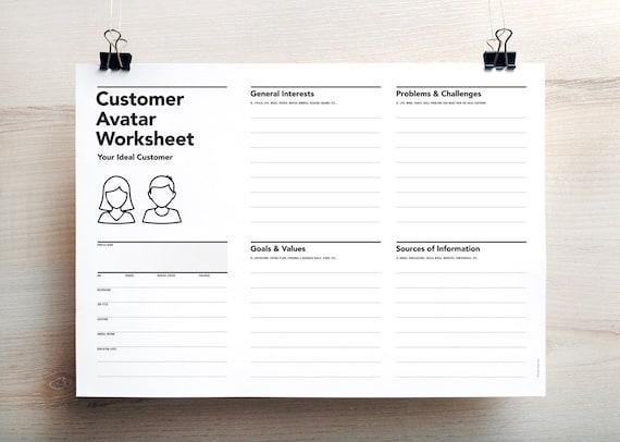 Customer Avatar Worksheet, Consumer Profile Worksheet, Customer Persona,  Target Market Planner, Lead Profile Worksheet, Target Audience