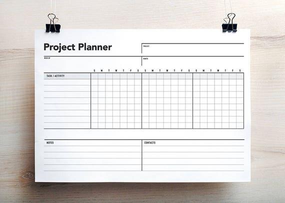 project planner project schedule gantt chart project etsy