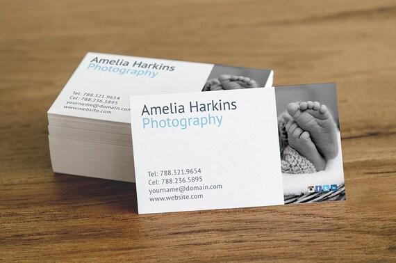 Conception De Carte Visite Photographe Imprimable Modle Modifiable Avec Photo Tlchargement Immdiat MS Word