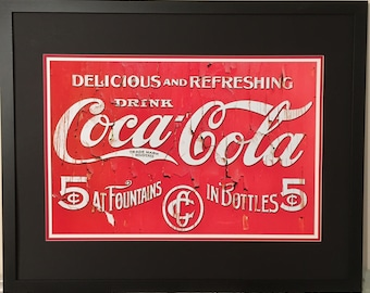 Vintage Poster Coca Cola Sign Drug Store Advertisement