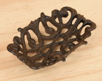 Cast Iron Soap Dish, Victorian soap dish, business card holder, catch all, brown soap dish, metal soap dish, ring holder, best selling items