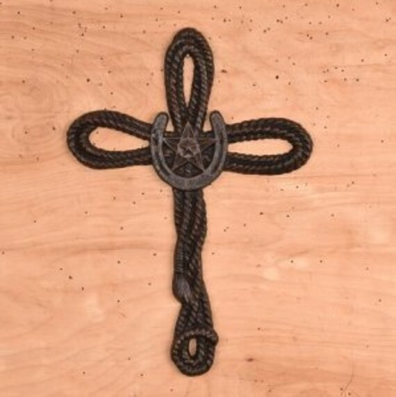 Cast Iron Rope Cross Rustic Cross Cowboy Cross Horseshoe Cross Gift For Her Gift For Him 3rd Anniversary Gift Best Selling Items