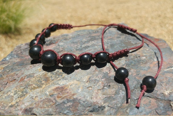Shungite Bracelet Jewelry - Polished Shungite Beads - Shambhala Macrame Woven - Black or Red Cord - Adjustable Length String - EMF - Healing