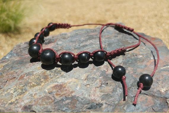Shungite Bracelet Jewelry - Polished Shungite Beads - Shambhala Macrame Woven - Black or Red Cord - Adjustable Length String - EMF - Healing