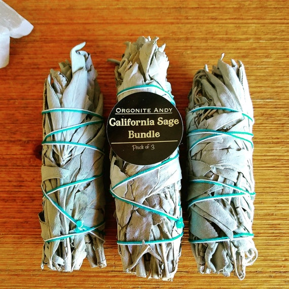 California White Sage Bundle - Smudge Kit - Pack of Three (3) - Energy Cleansing Set - Natural Herbal Incense