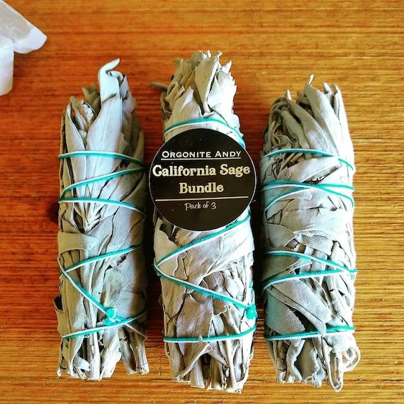 Smudge Kit - California White Sage Bundle -  Pack of Three (3) - Energy Cleansing Set - Natural Herbal Incense -