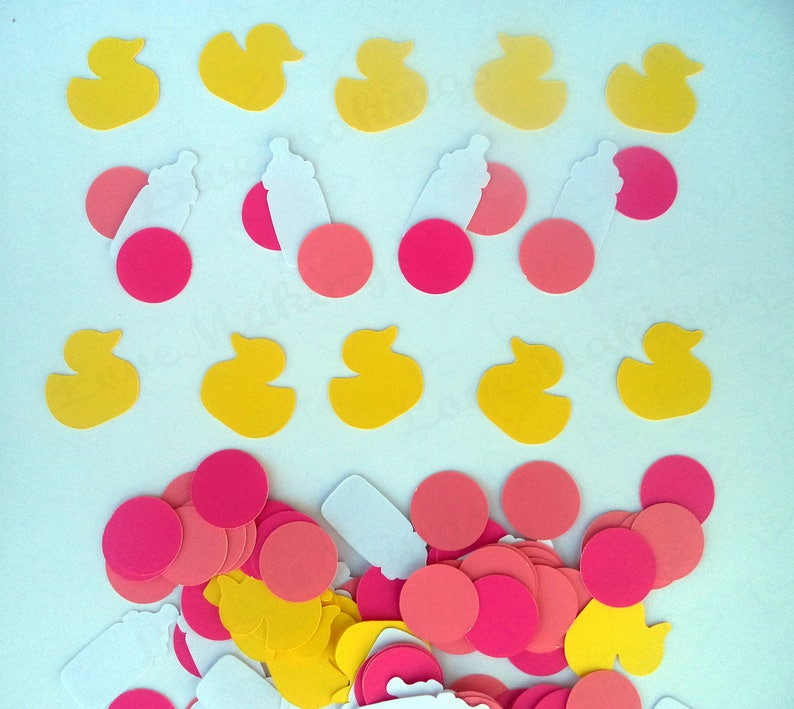 perfect embellishments for invitations and scrapbook Baby Girl Table Confetti with Bottles and Ducks set of 120 pc and READY TO SHIP