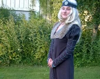 Medieval women's dress, cape and head piece set