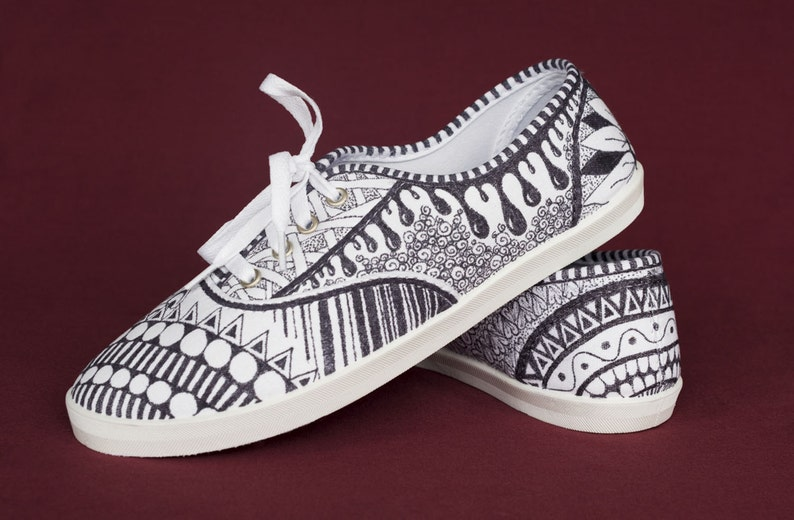 577082ee1190a Hand Drawn Zentangle Doodle Canvas Shoes