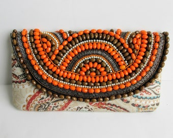 Handcrafted Beaded Paisley Print Clutch