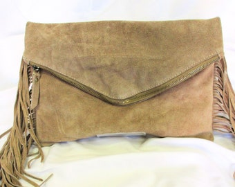 Suede Fringe Clutch with Strap