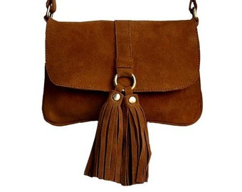 Suede Tassel Crossbody Bag / Genuine Suede Handmade BARGANZA sorpresa