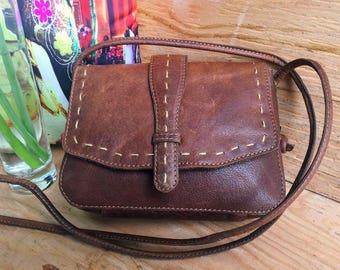 Genuine Leather Crossbody Bag Hand-Stitched Flap BARGANZA sorpresa!