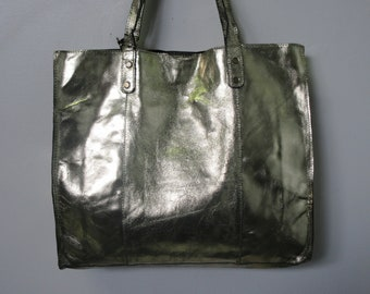 Reversible Vegan Leather Fold Up Tote Bag Leopard Couture